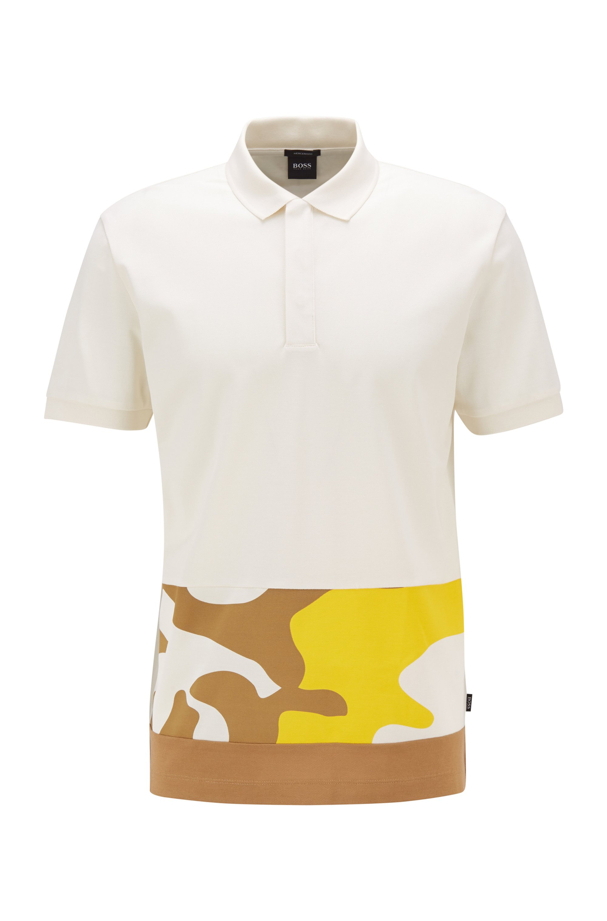 Cotton polo shirt with camouflage-print panel, White Patterned