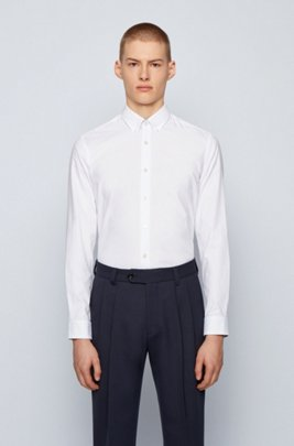 Button-down slim-fit shirt in Oxford stretch cotton, White