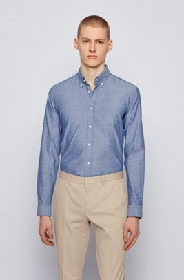 Camicia slim fit button down in cotone Oxford elasticizzato, Blu