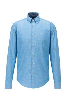 Chemise Slim Fit en coton Oxford stretch, avec col à pointes boutonnées, Bleu