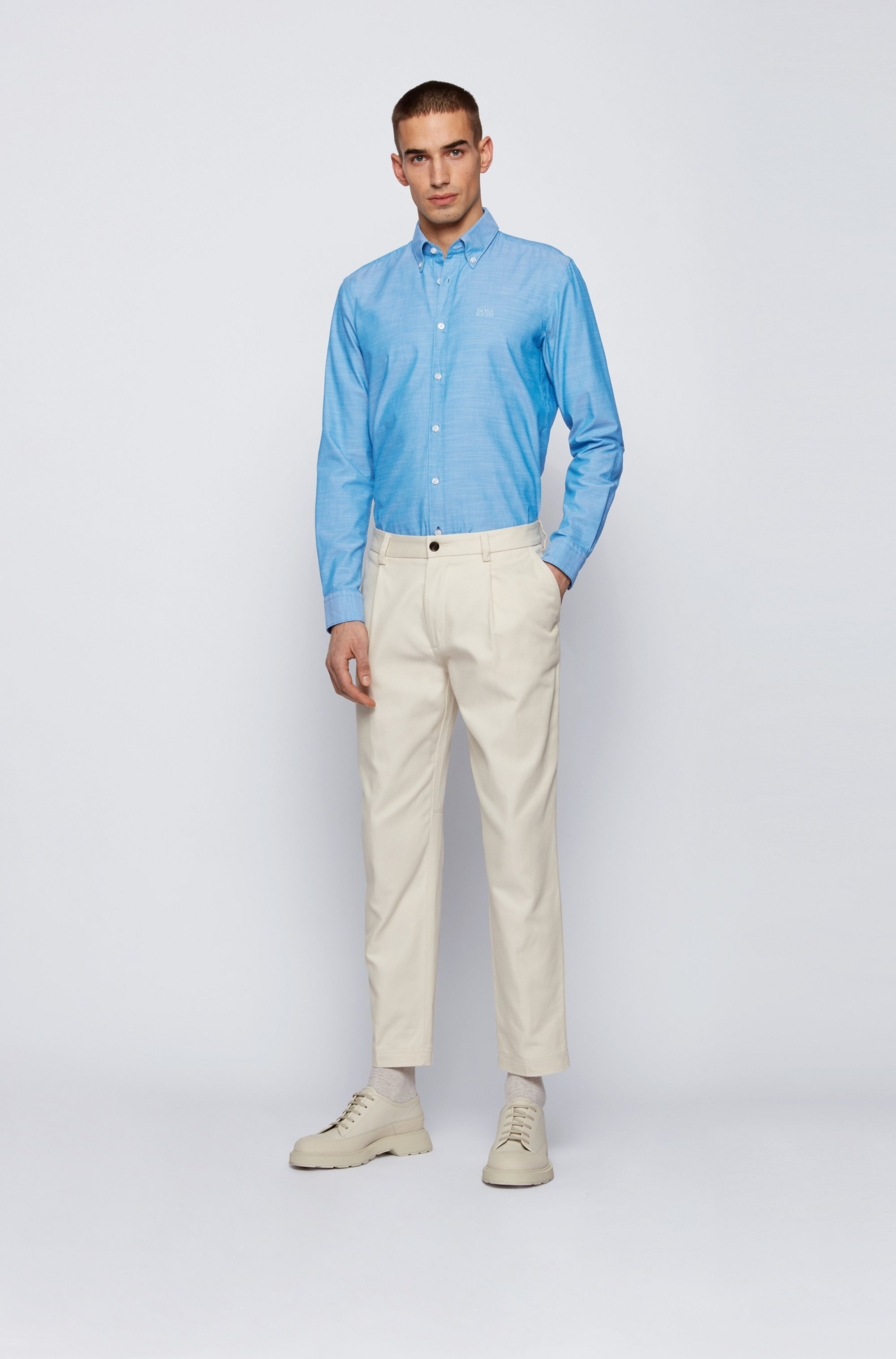 Button-down slim-fit shirt in Oxford stretch cotton