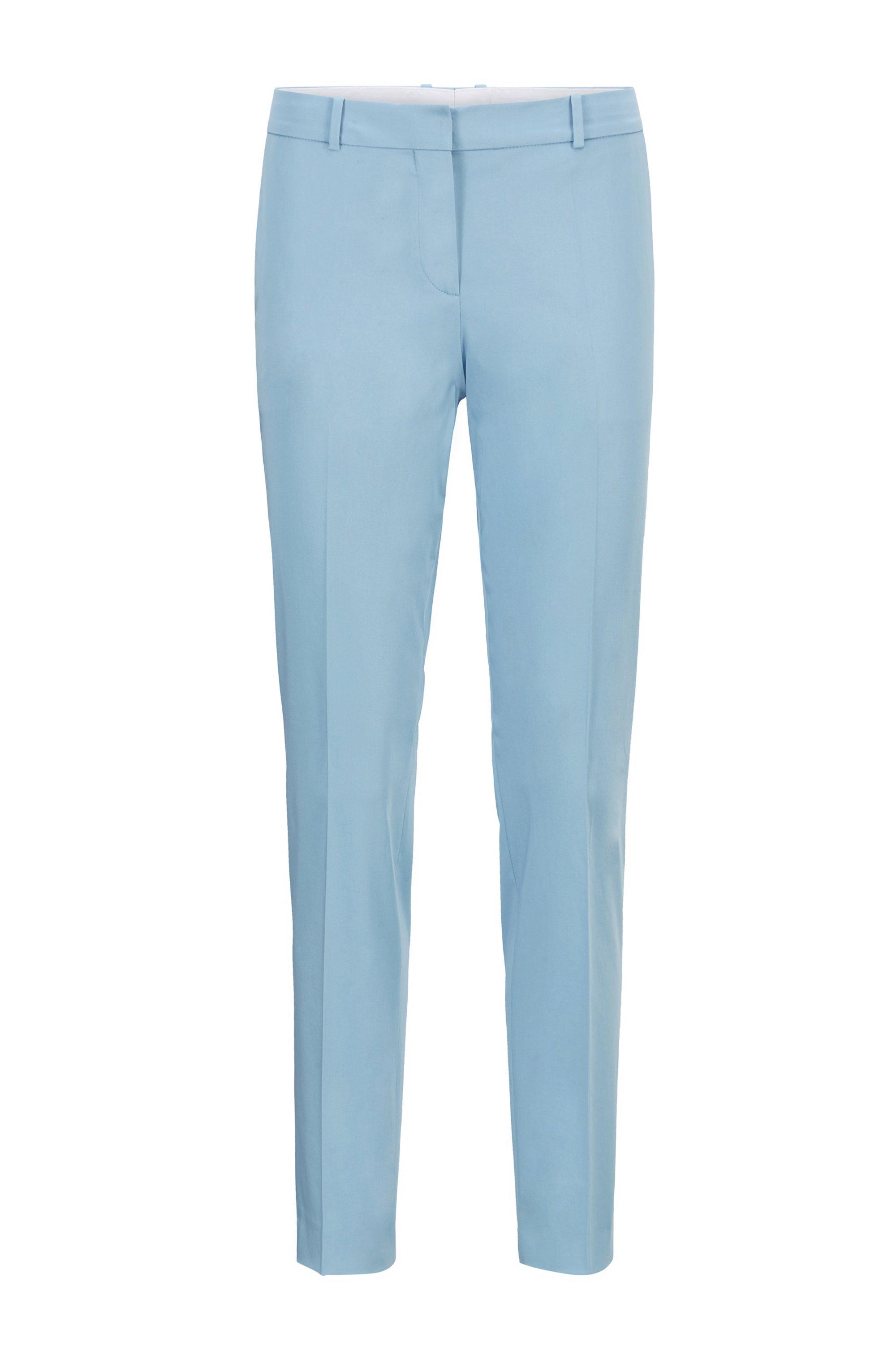 Regular-Fit Hose in Cropped-Länge aus elastischem Bio-Baumwoll-Satin, Hellblau