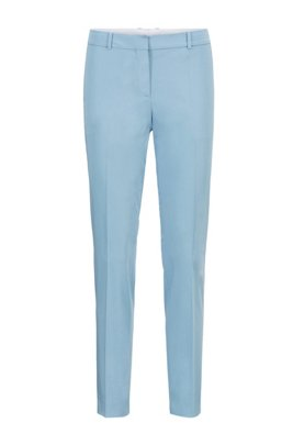 Cropped regular-fit trousers in organic-cotton stretch satin, Light Blue