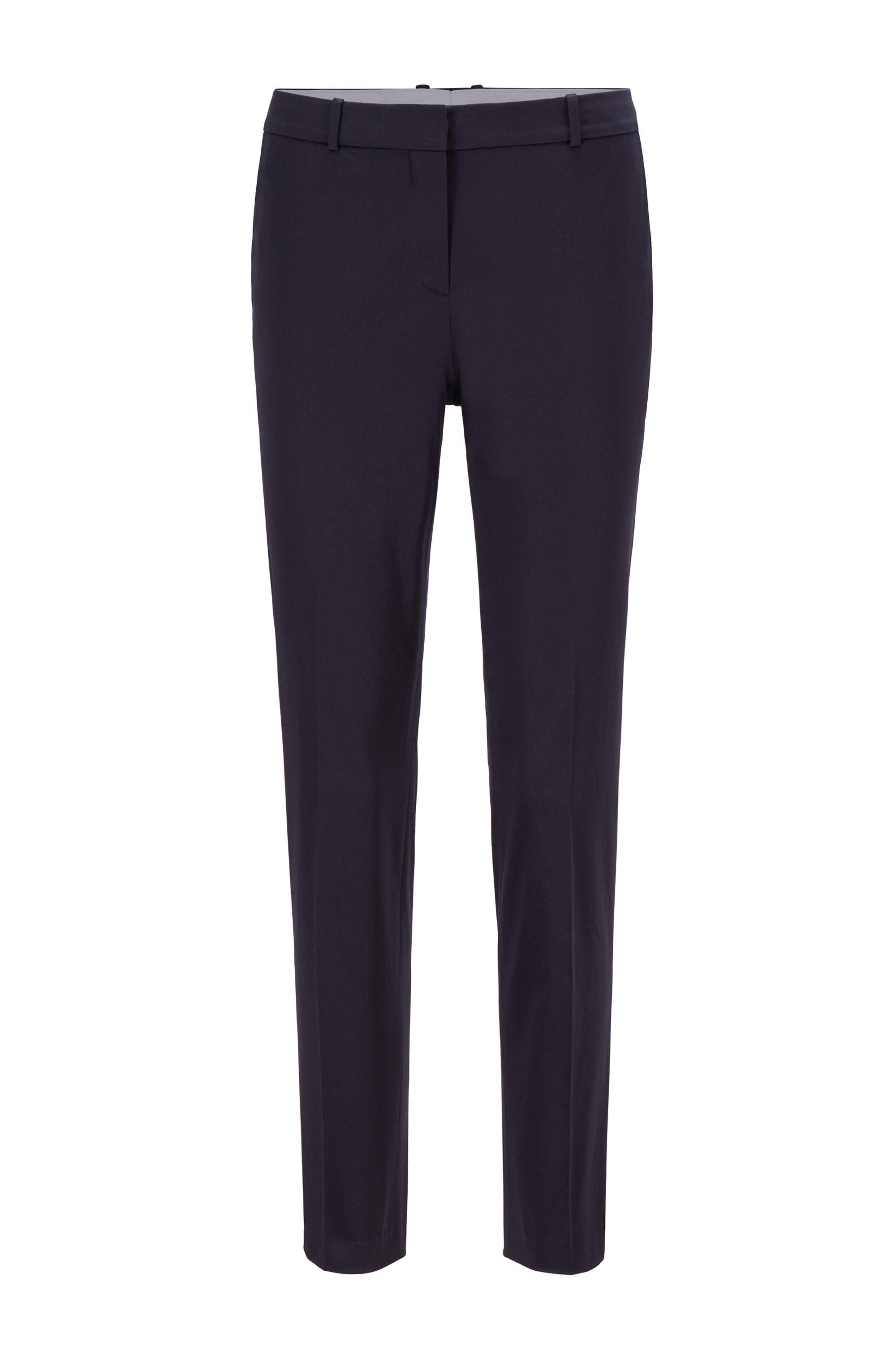 Pantalon court Regular Fit en satin de coton biologique stretch, Bleu foncé
