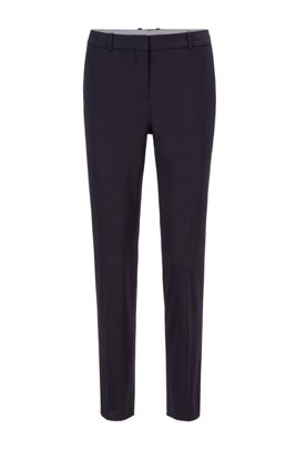 Pantalon court Regular Fit en satin de coton biologique stretch, Bleu foncé