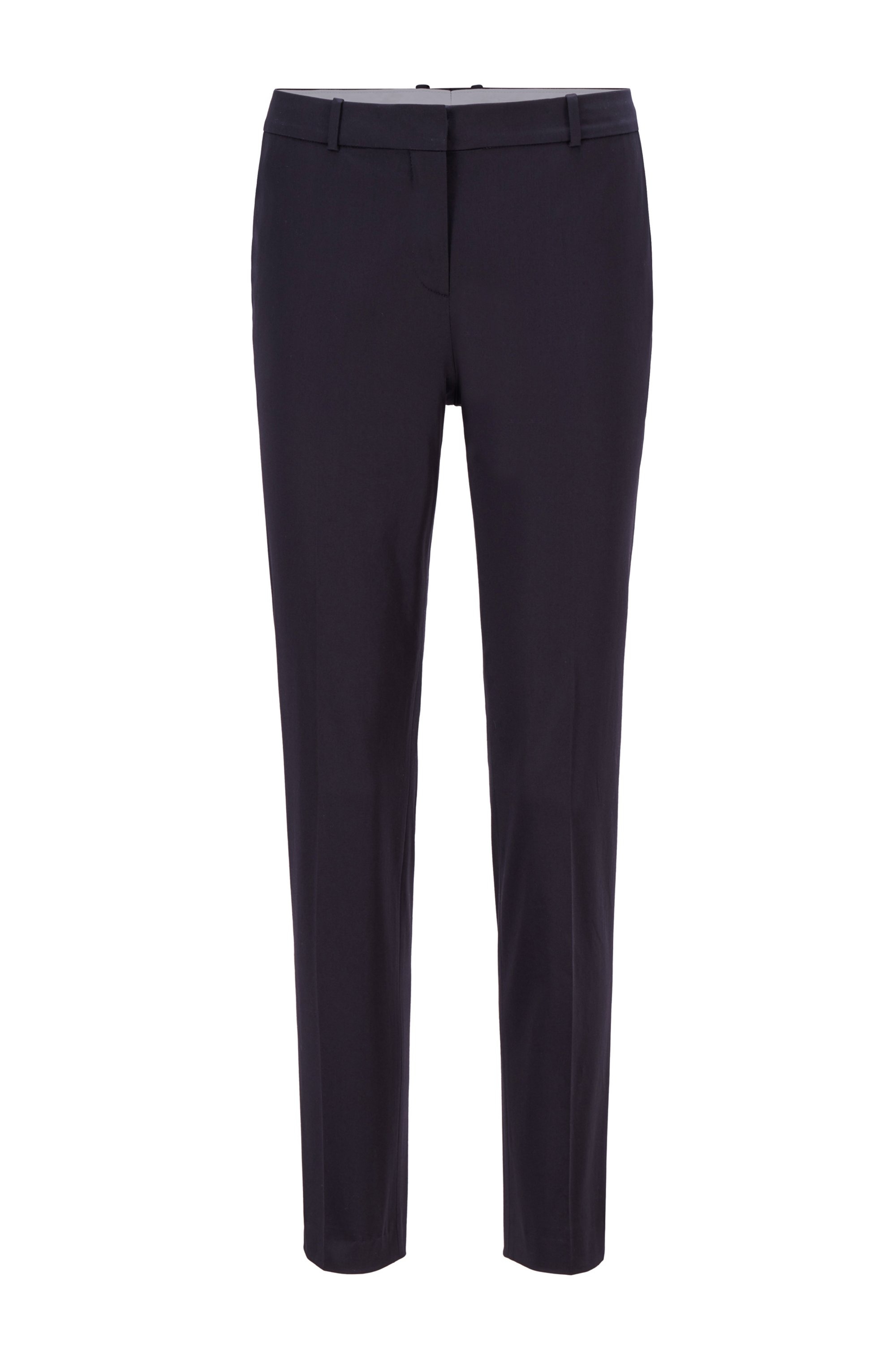 Cropped regular-fit trousers in organic-cotton stretch satin, Dark Blue