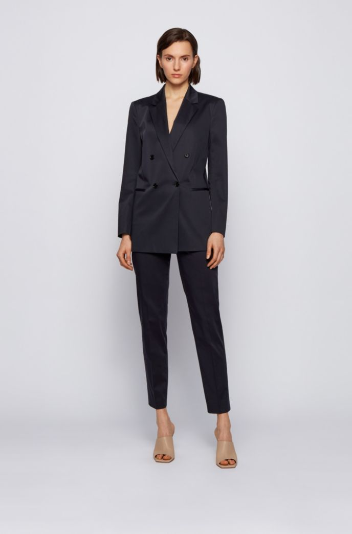 Cropped regular-fit trousers in organic-cotton stretch satin