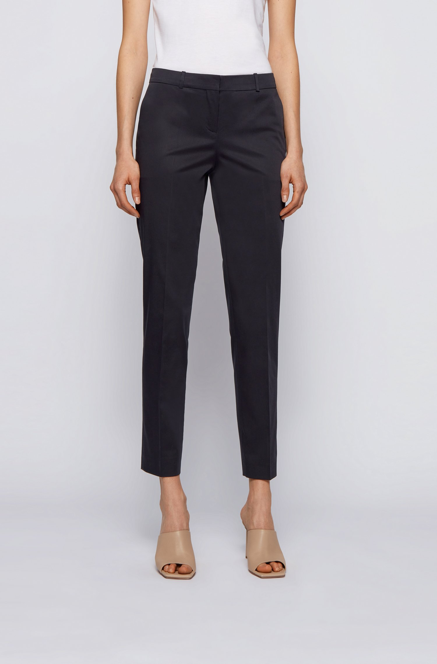 Cropped regular-fit trousers in organic-cotton stretch satin, Dark Blue