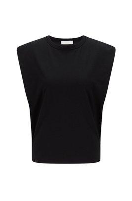 T-shirt Relaxed Fit sans manches en coton biologique, Noir