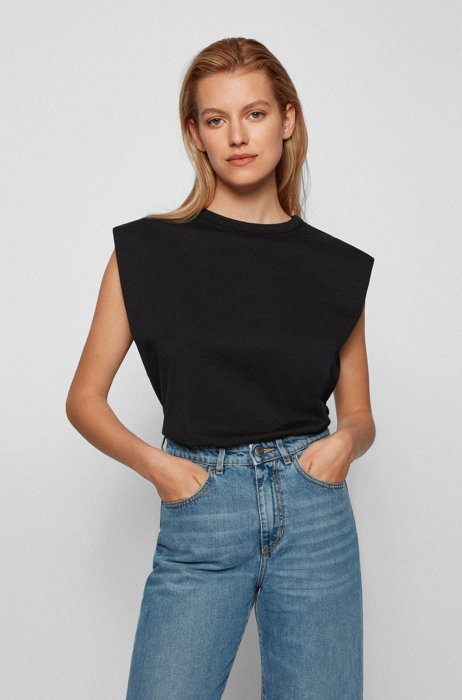Sleeveless relaxed-fit T-shirt in organic cotton, Black