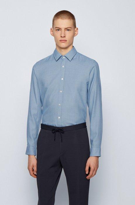 Regular-fit shirt in structured cotton dobby, Dark Blue