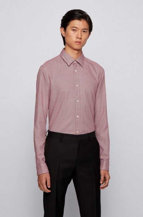 Regular-fit shirt in structured cotton dobby, Red