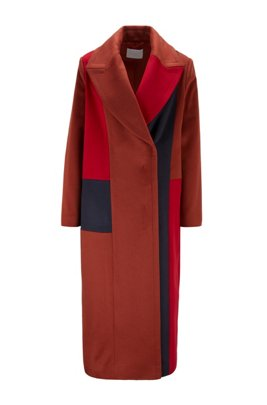 Relaxed-fit coat with Italian zibeline finishing, Brown