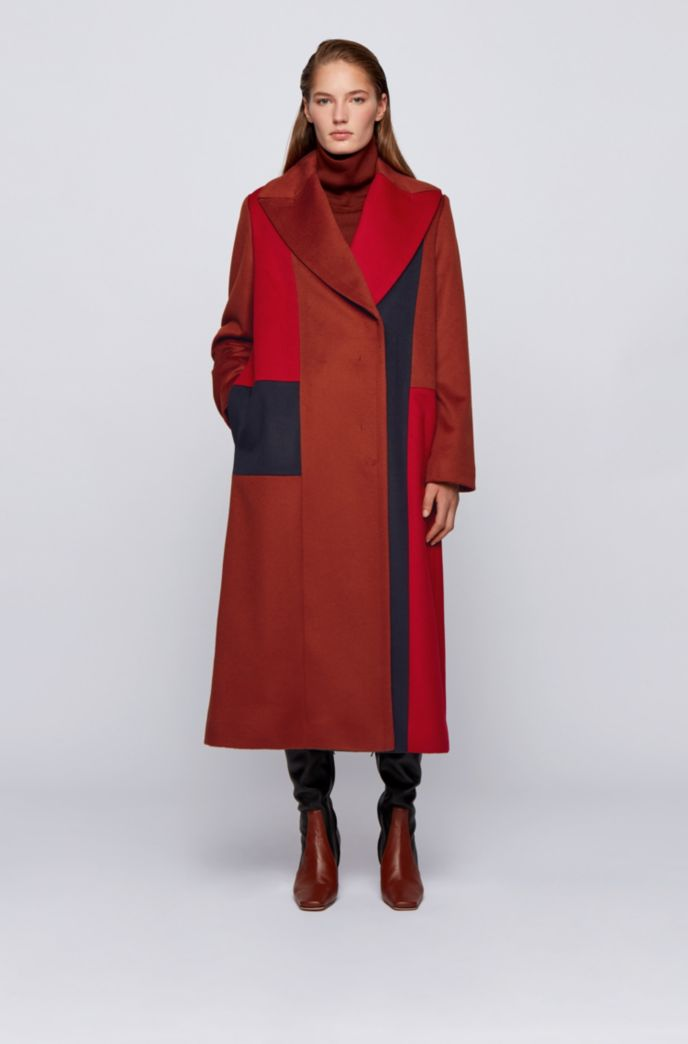 Relaxed-fit coat with Italian zibeline finishing