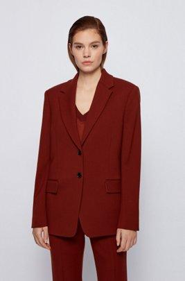 Regular-fit jacket in stretch virgin wool, Brown