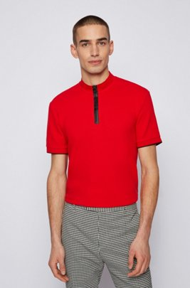 Regular-fit cotton-piqué polo shirt with stand collar, Red