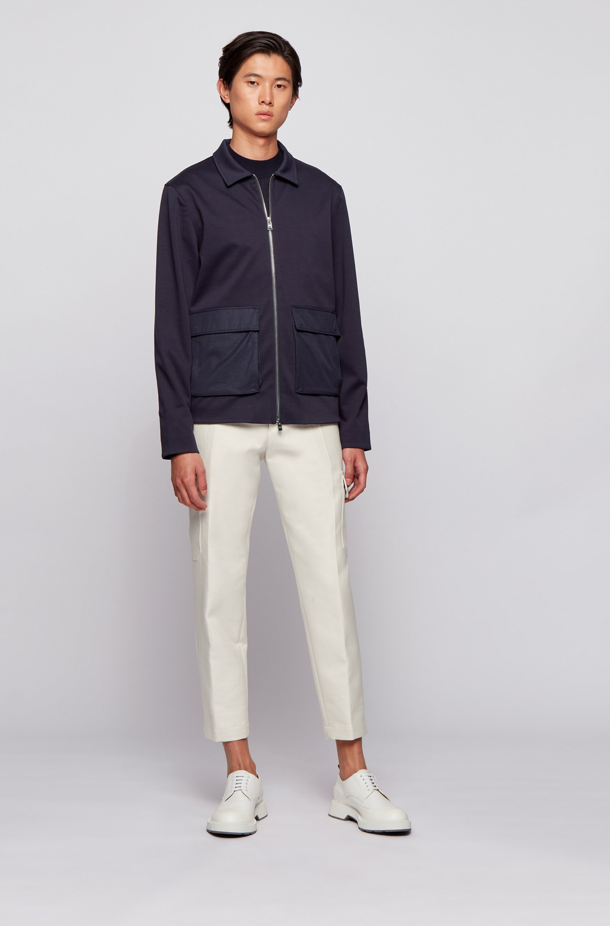 Cotton-blend zip-up sweatshirt with patched pockets