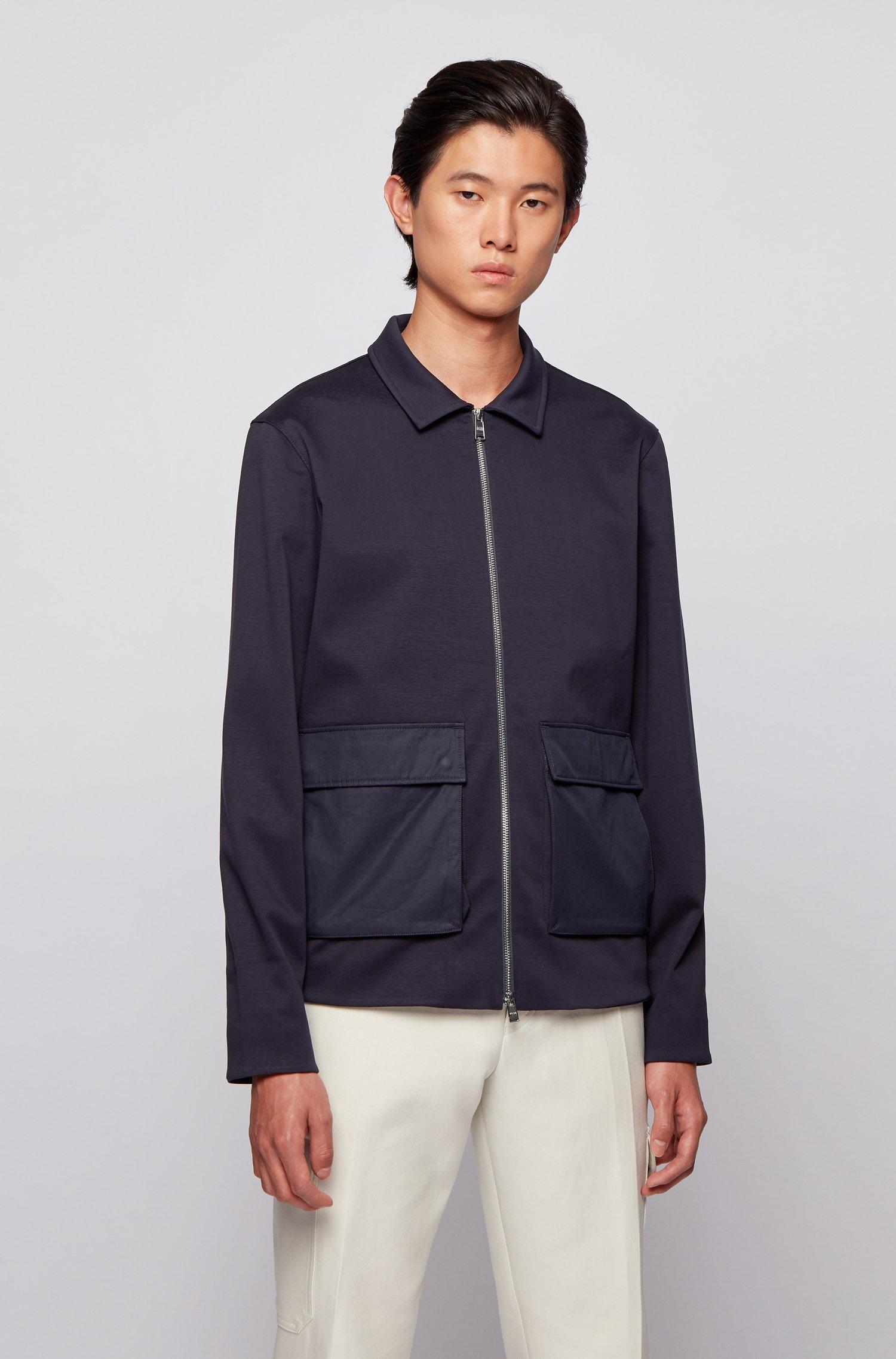 Cotton-blend zip-up sweatshirt with patched pockets, Dark Blue