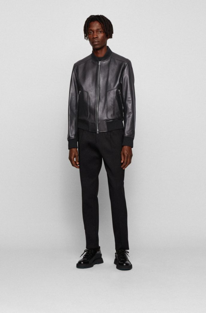 Regular-fit jacket in nappa leather with ribbed knitwear