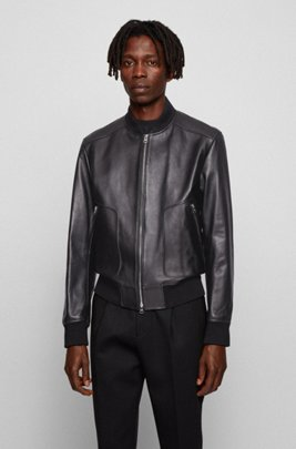 Regular-fit jacket in nappa leather with ribbed knitwear, Black