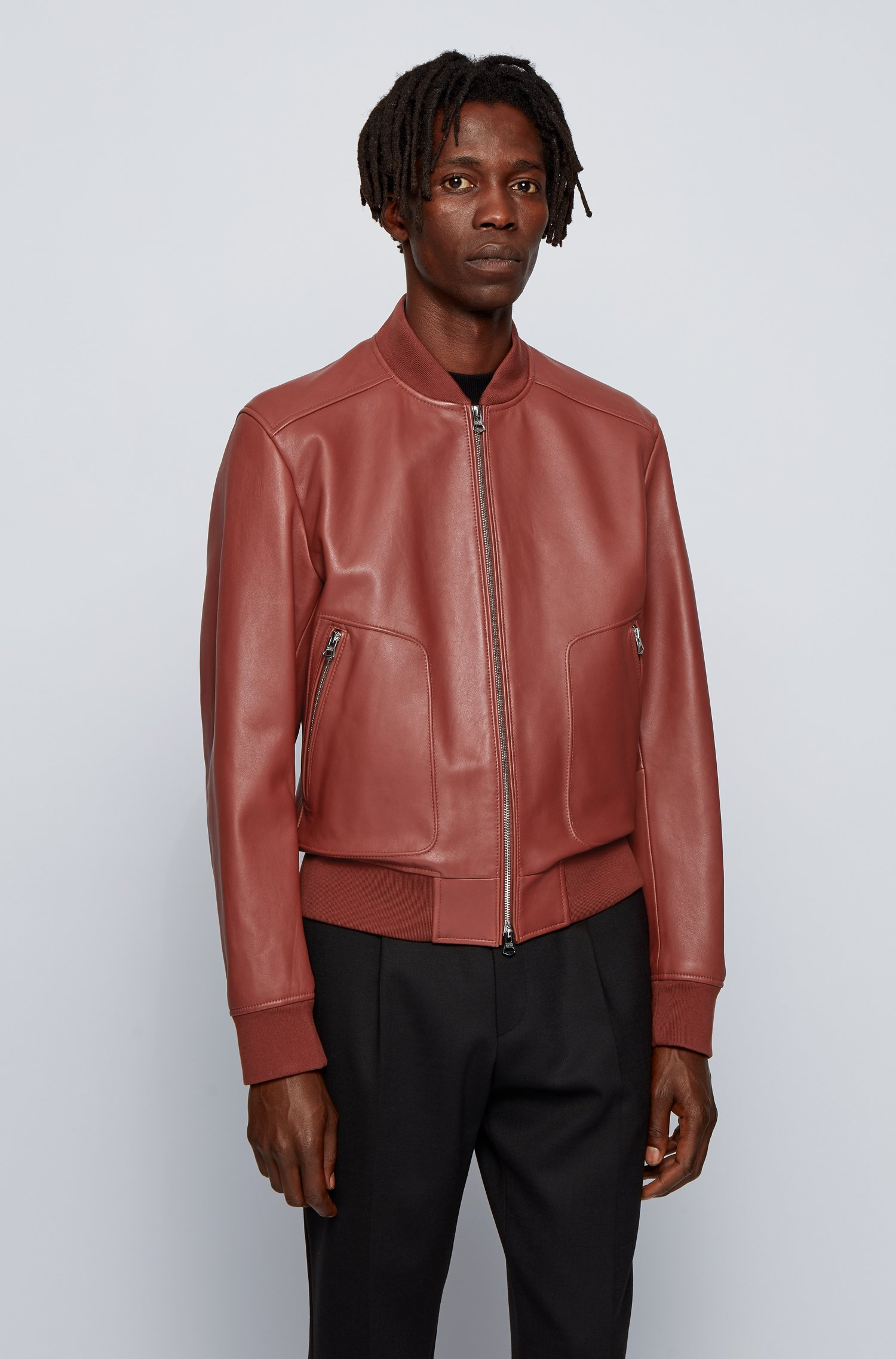 Regular-fit jacket in nappa leather with ribbed knitwear, Brown