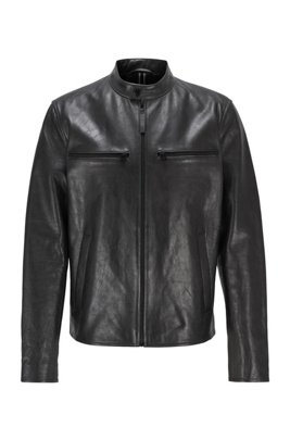Leather jacket with zipped chest pockets, Black