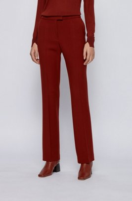 Extra-long boot-cut trousers in stretch virgin wool, Brown