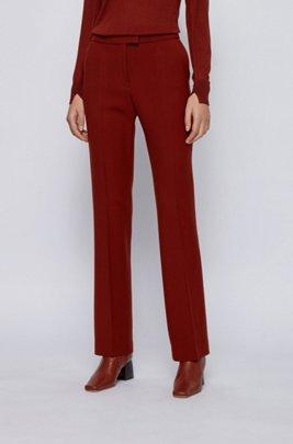 Extralange bootcut broek van scheerwol met stretch, Bruin