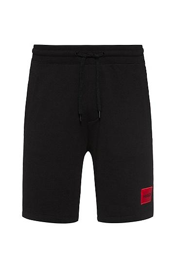 宽松版型棉布短裤,  001_Black