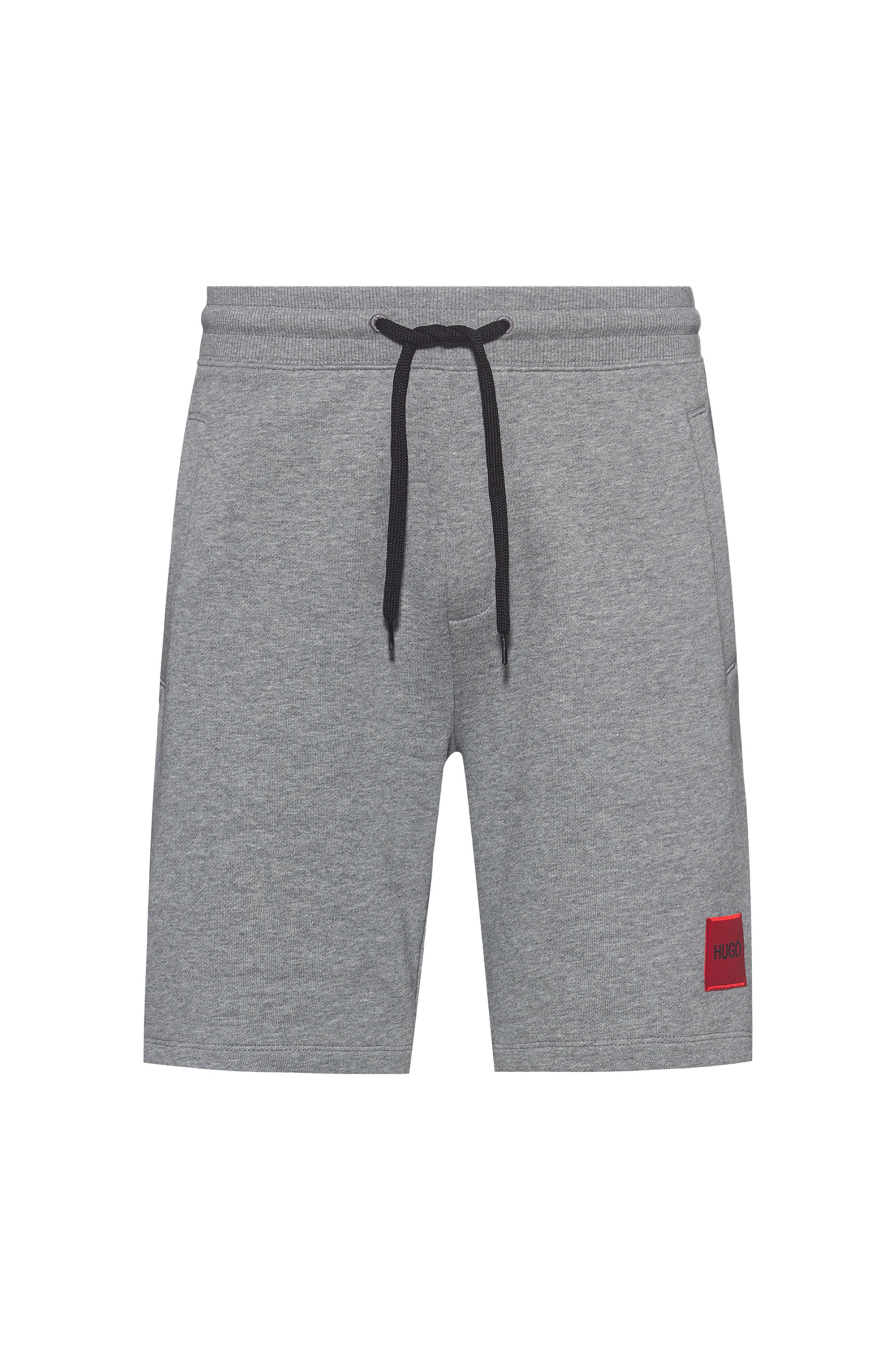 Relaxed-fit tracksuit shorts in cotton with logo label, Grey