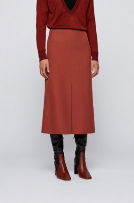 Slit-front skirt in Italian virgin-wool twill, Brown