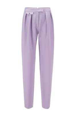 Relaxed-fit trousers in broken-twill Italian wool, Light Purple