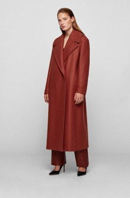 Relaxed-fit coat in Italian virgin wool with cashmere, Brown