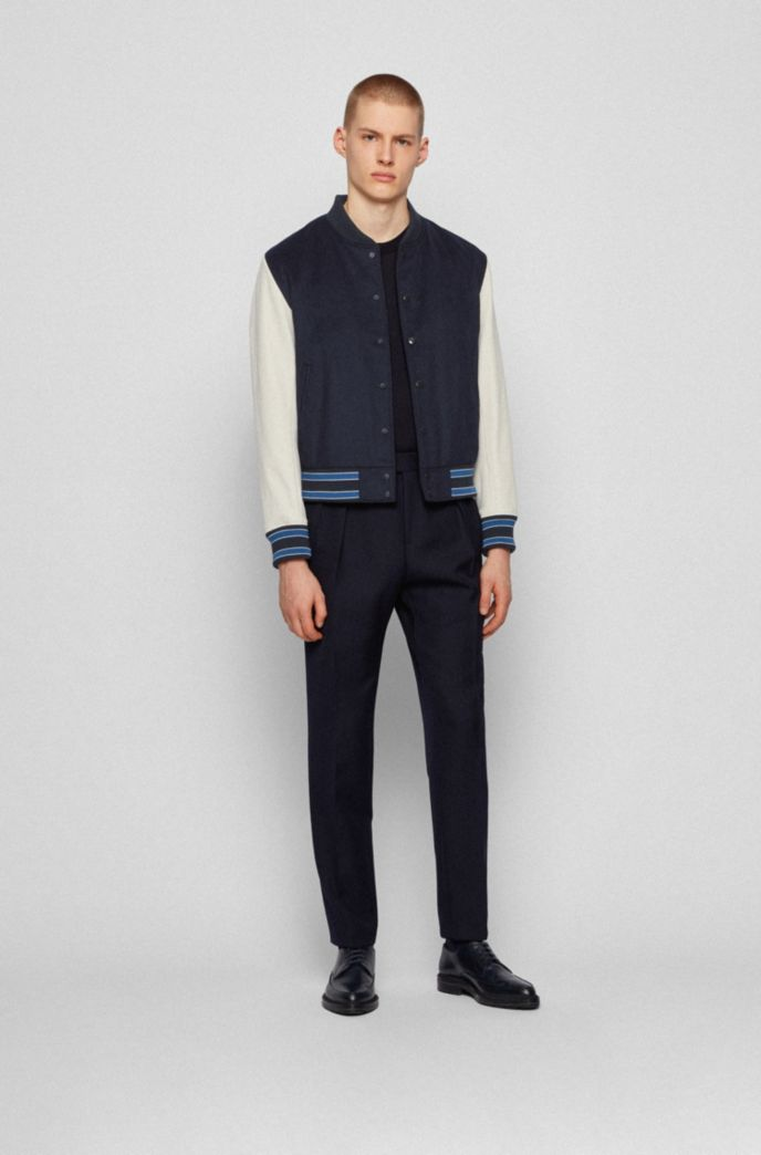 Wool-blend bomber jacket with nappa-leather sleeves