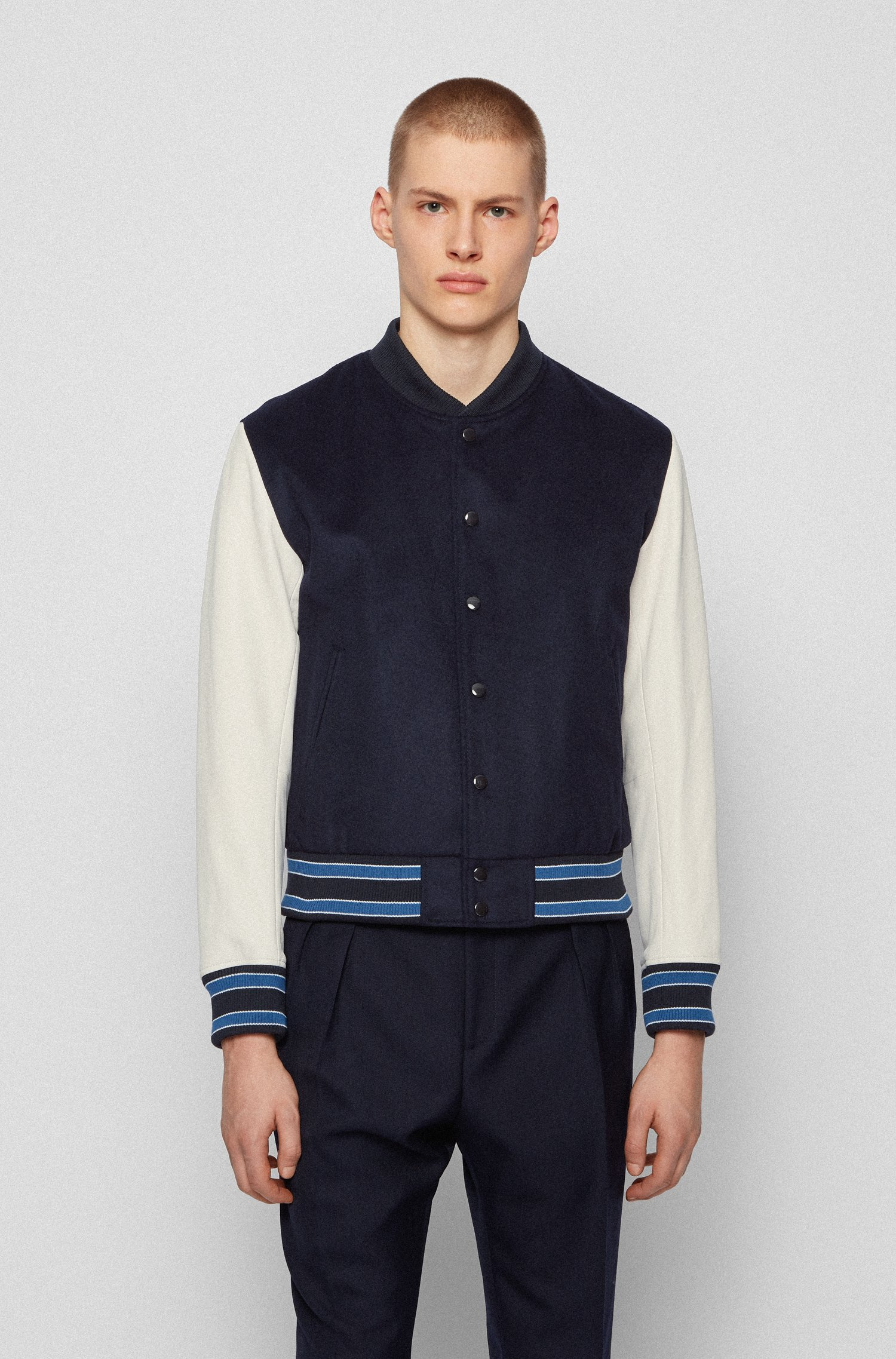 Wool-blend bomber jacket with nappa-leather sleeves, Dark Blue