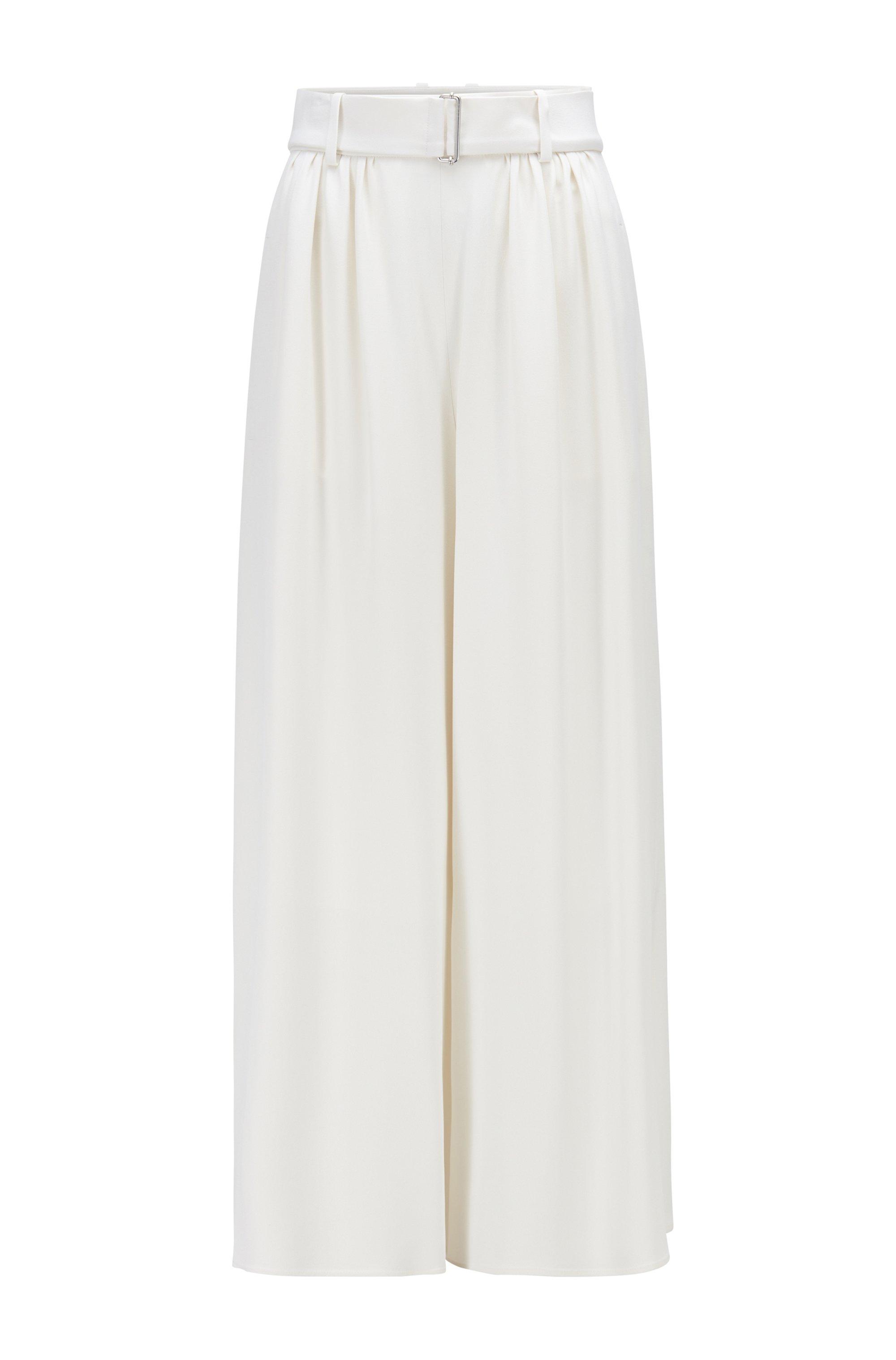 Pantalones culotte relaxed fit en crepé con reverso de satén, Blanco