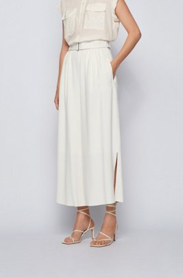 Relaxed-fit culotte trousers in Italian satin-back crepe, White