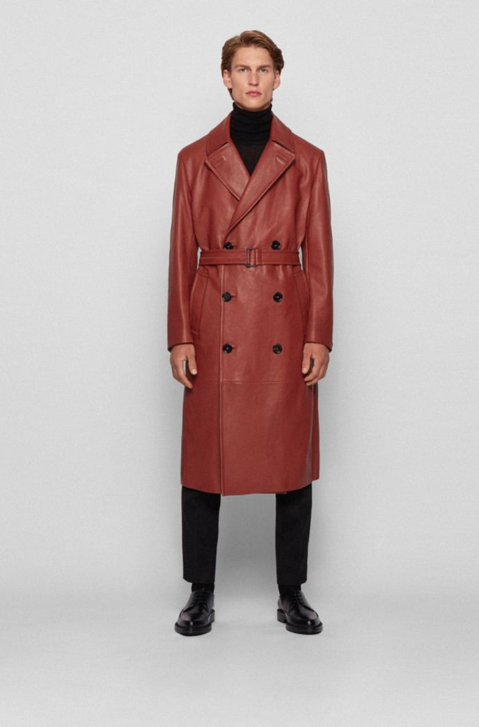 Double-breasted overcoat in grained calf leather