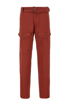 Italian-fabric cargo trousers with a slim leg, Brown
