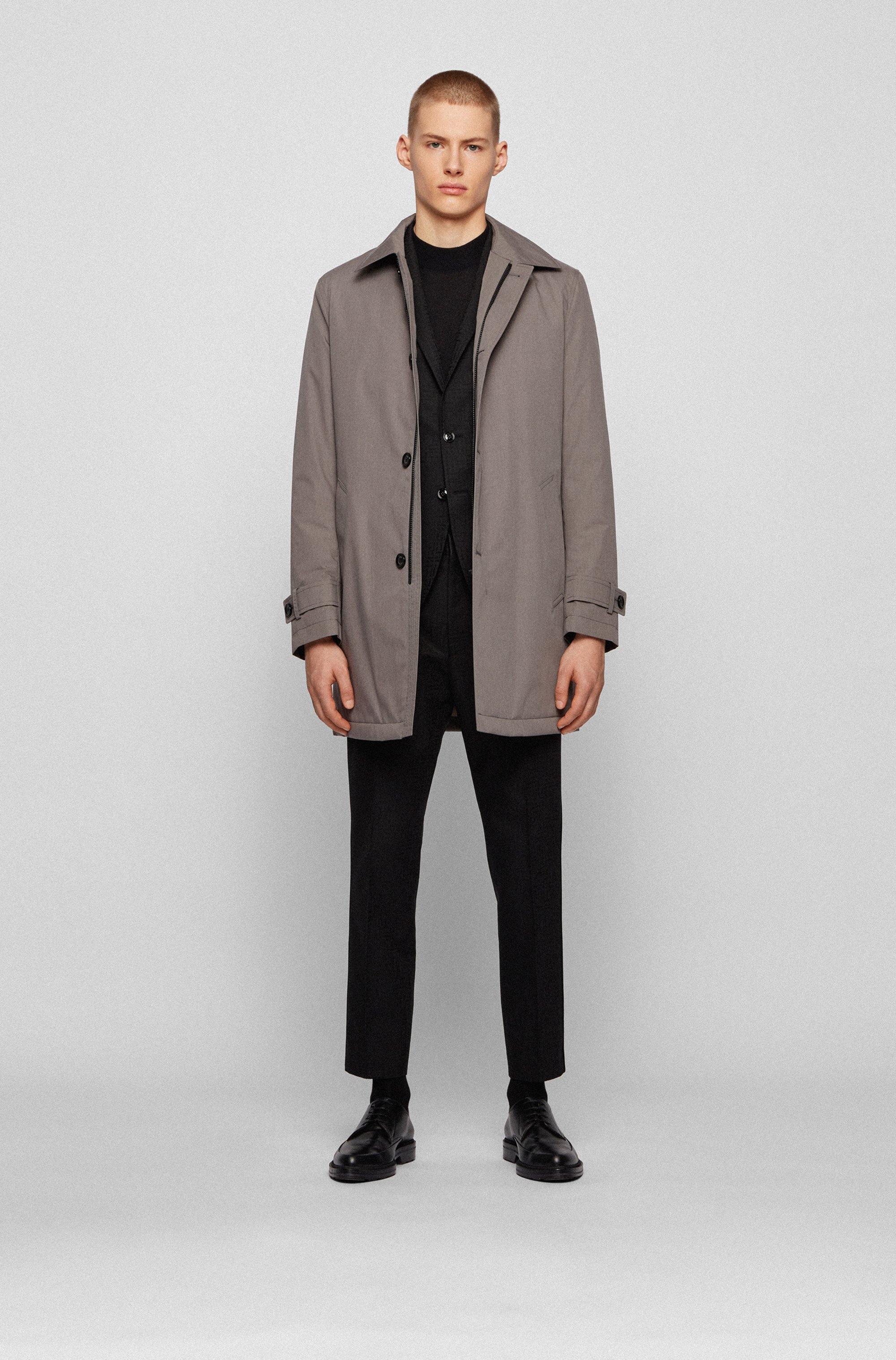 Water-repellent overcoat in melange fabric with quilted lining