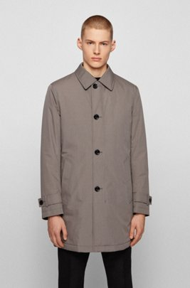 Water-repellent overcoat in melange fabric with quilted lining, Light Grey