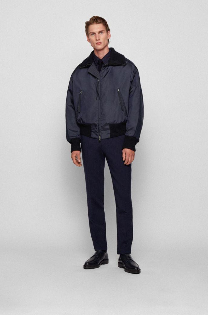Italian-twill bomber jacket with sleeve stripes