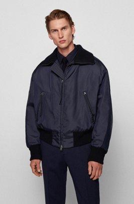 Italian-twill bomber jacket with sleeve stripes, Dark Blue