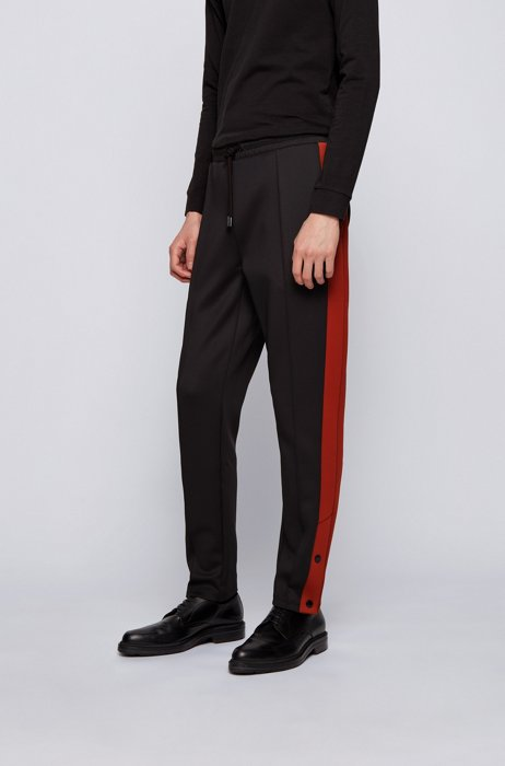 Regular-Fit Jersey-Hose mit Kontraststreifen, Schwarz