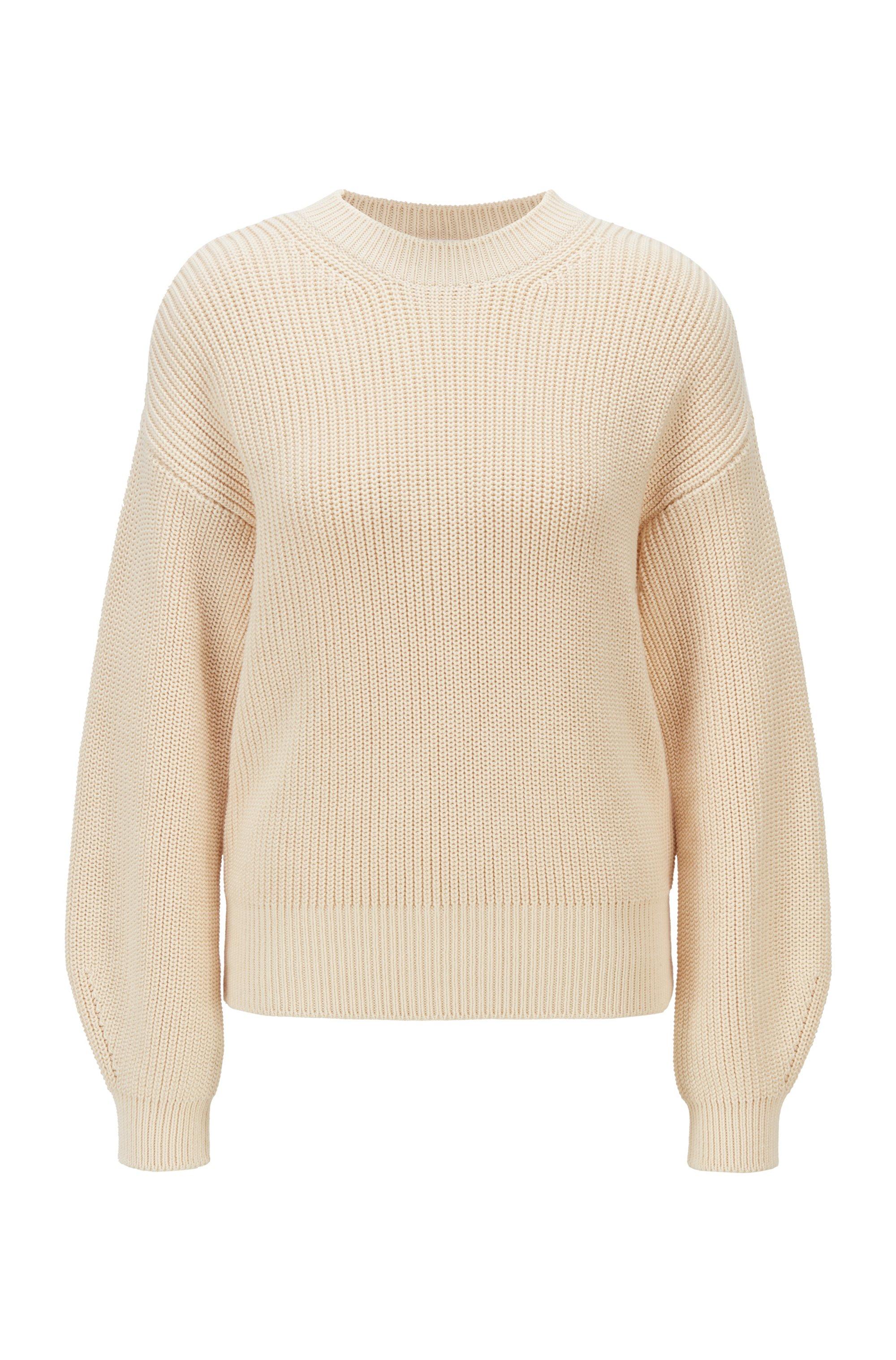 Relaxed-Fit Pullover aus strukturierter Baumwolle, Weiß