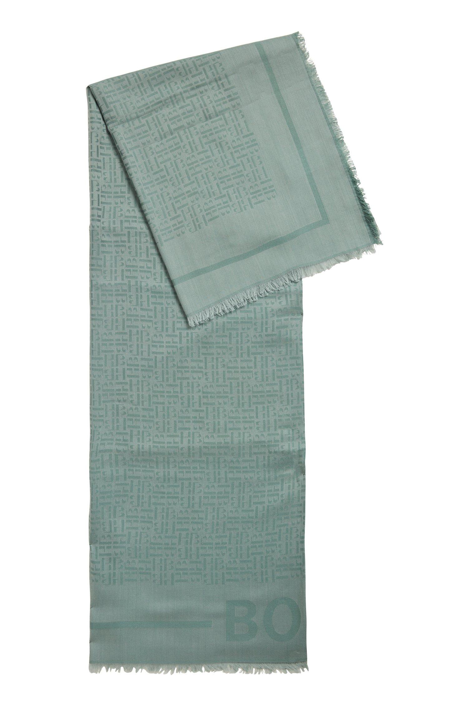 Écharpe à monogramme, en jacquard de modal et de laine, Chaux