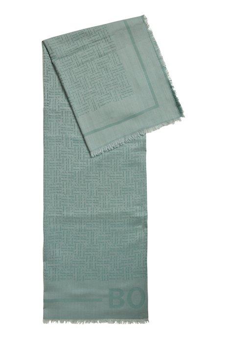 Monogram scarf in a modal-wool jacquard, Light Green