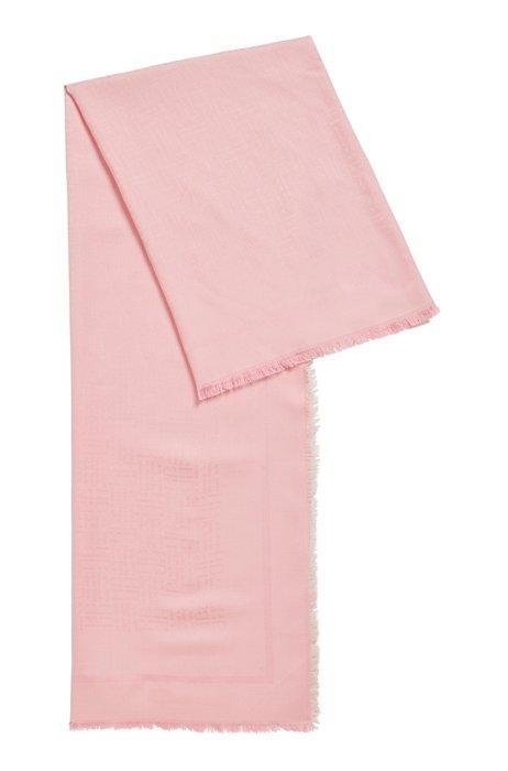 Monogram scarf in a modal-wool jacquard, Pink