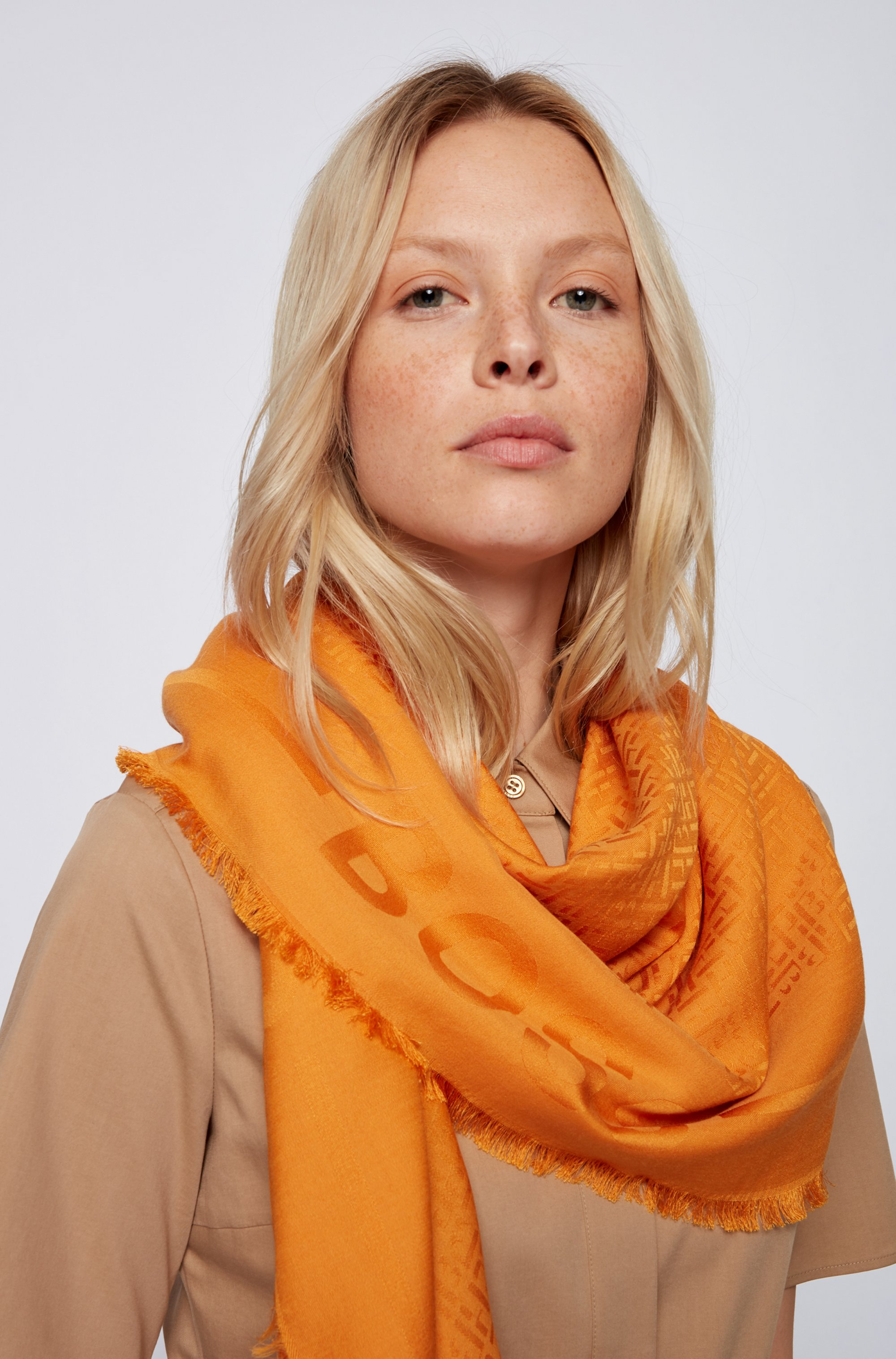 Monogram scarf in a modal-wool jacquard