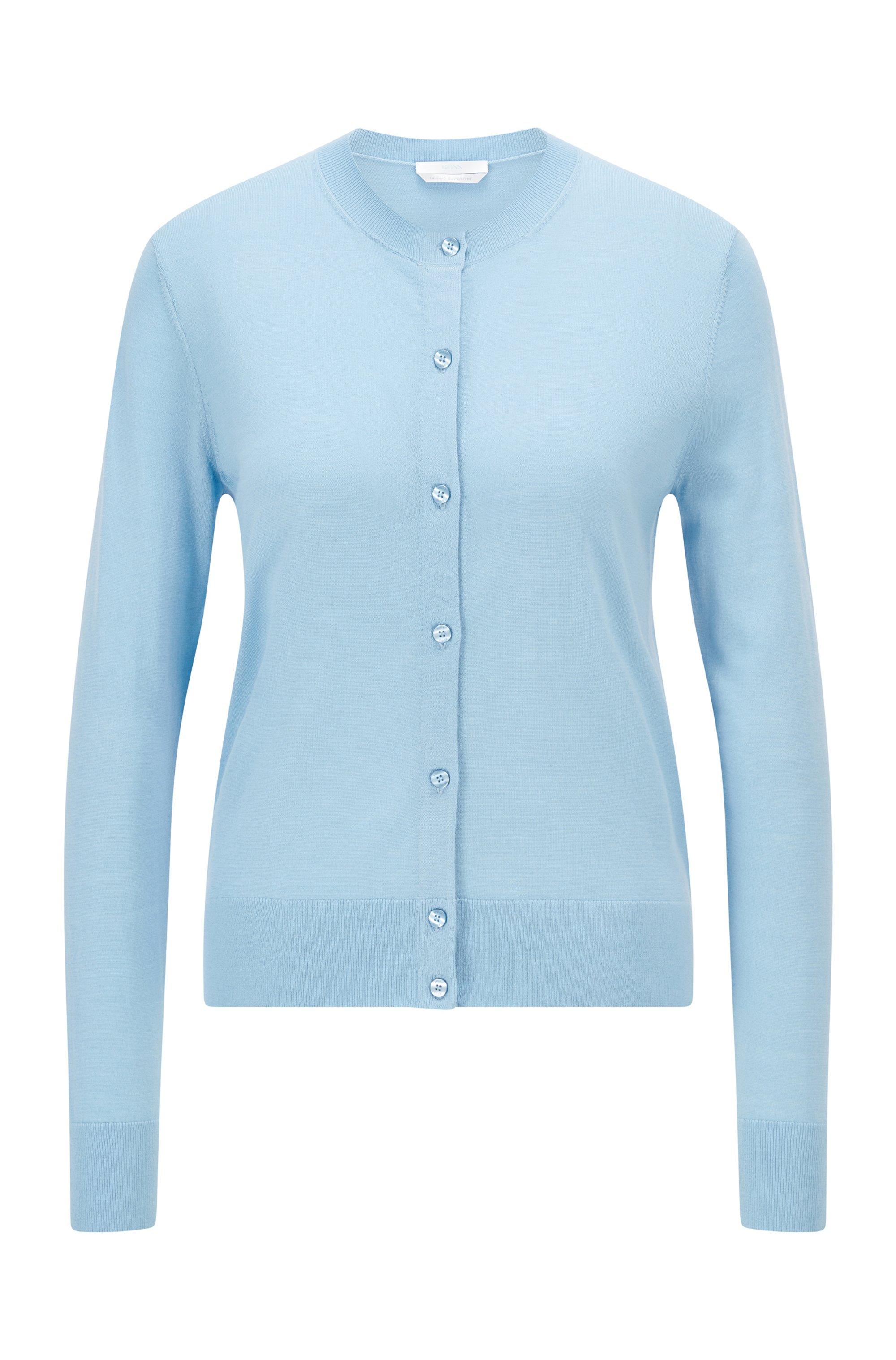 Button-through cardigan in virgin wool, Light Blue